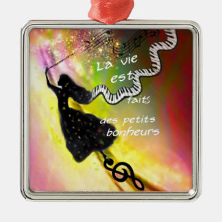 The music brings happiness to our life metal ornament