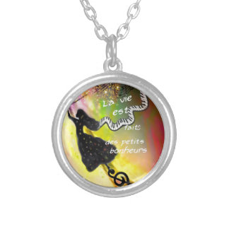 The music brings happiness to our life silver plated necklace
