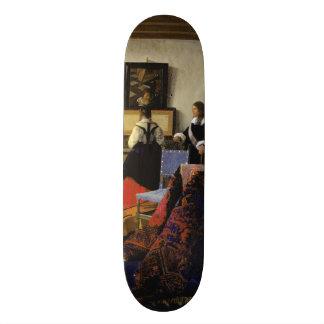 The Music Lesson by Johannes Vermeer 20.6 Cm Skateboard Deck