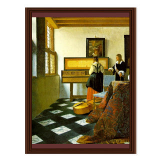 The Music Lesson By Vermeer Van Delft Jan Postcard