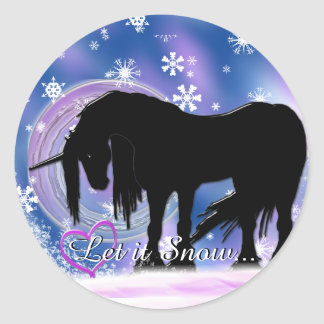 The Mystical Black Unicorn (Let It Snow) Classic Round Sticker