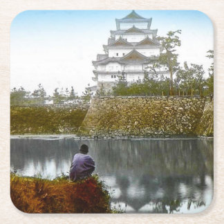 The Nagoya Castle of Old Japan Vintage Japanese Square Paper Coaster