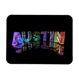 The Name Austin in 3D Lights Magnet