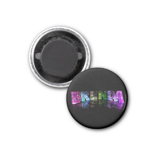 The Name Brenda in 3D Lights 3 Cm Round Magnet