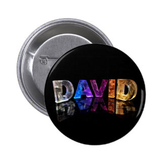 The Name David in 3D Lights (Photograph) 6 Cm Round Badge