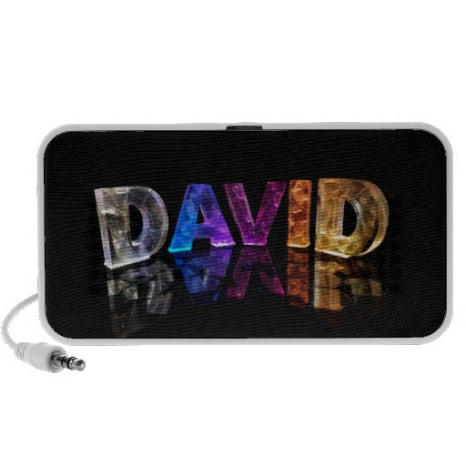 The Name David in 3D Lights (Photograph) iPhone Speakers