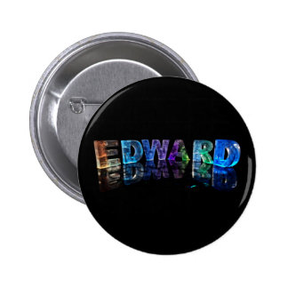 The Name Edward in 3D Lights (Photograph) 6 Cm Round Badge