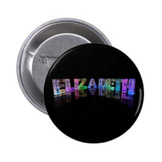 The Name Elizabeth in 3D Lights (Photograph) 6 Cm Round Badge