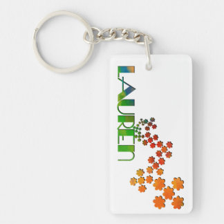 The Name Game - Lauren Double-Sided Rectangular Acrylic Key Ring