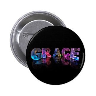 The Name Grace in 3D Lights (Photograph) 6 Cm Round Badge