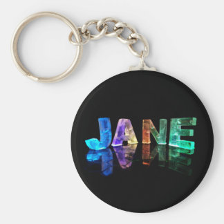 The Name Jane in 3D Lights (Photograph) Basic Round Button Key Ring