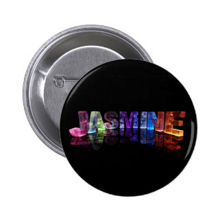The Name Jasmine in 3D Lights (Photograph) 6 Cm Round Badge
