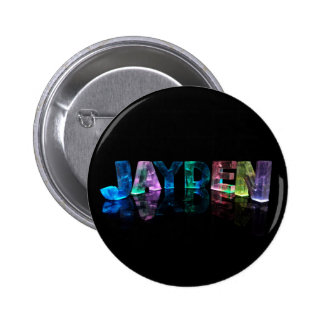 The Name Jayden in 3D Lights (Photograph) 6 Cm Round Badge