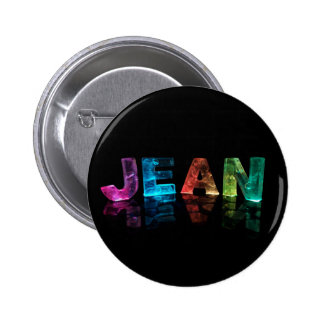 The Name Jean in 3D Lights (Photograph) 6 Cm Round Badge