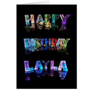 The Name Layla in 3D Lights (Photograph) Greeting Card
