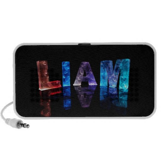 The Name Liam in 3D Lights (Photograph) iPod Speakers
