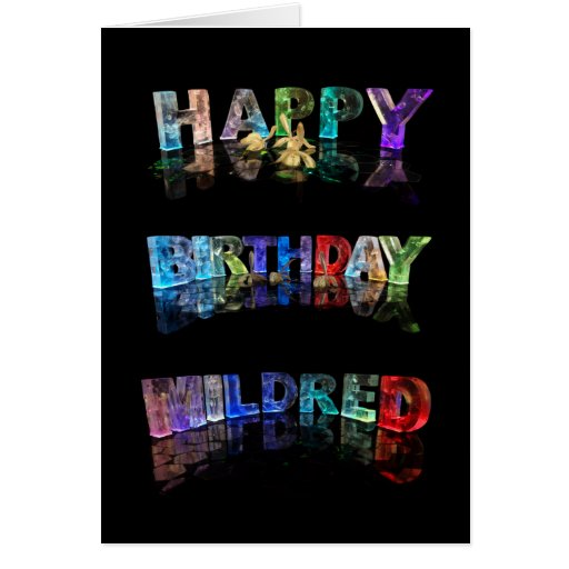The Name Mildred in 3D Lights (Photograph) Card