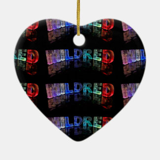 The Name Mildred in 3D Lights (Photograph) Ceramic Heart Decoration