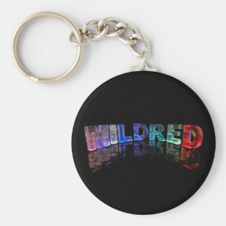 The Name Mildred in 3D Lights (Photograph) Keychain