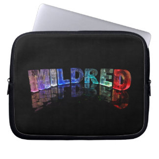 The Name Mildred in 3D Lights (Photograph) Computer Sleeve