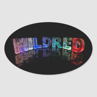 The Name Mildred in 3D Lights (Photograph) Oval Sticker