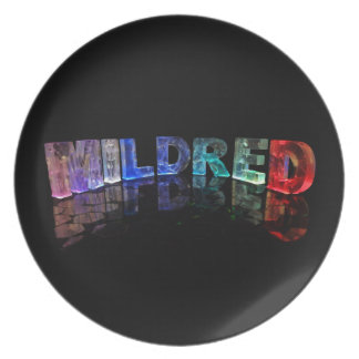 The Name Mildred in 3D Lights (Photograph) Party Plate