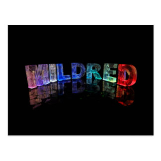 The Name Mildred in 3D Lights (Photograph) Postcard