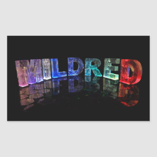 The Name Mildred in 3D Lights (Photograph) Rectangular Sticker