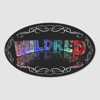 The Name Mildred -  Name in Lights (Photograph) Oval Sticker