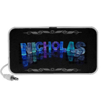 The Name Nicholas -  Name in Lights (Photograph) iPod Speakers