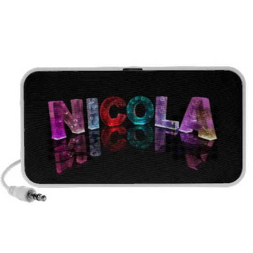 The Name Nicola in 3D Lights (Photograph) iPhone Speakers