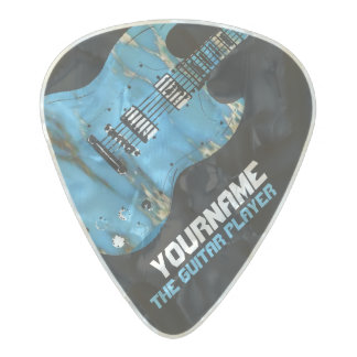 the name of the band, blue electricguitar pearl celluloid guitar pick