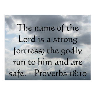 The name of the Lord is a strong fortress; the god Postcard