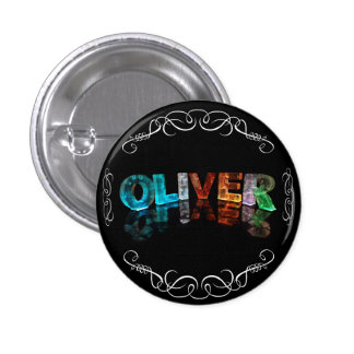 The Name Oliver -  Name in Lights (Photograph) 3 Cm Round Badge