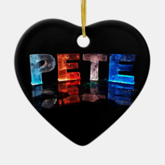 The Name Pete in 3D Lights (Photograph) Ceramic Ornament