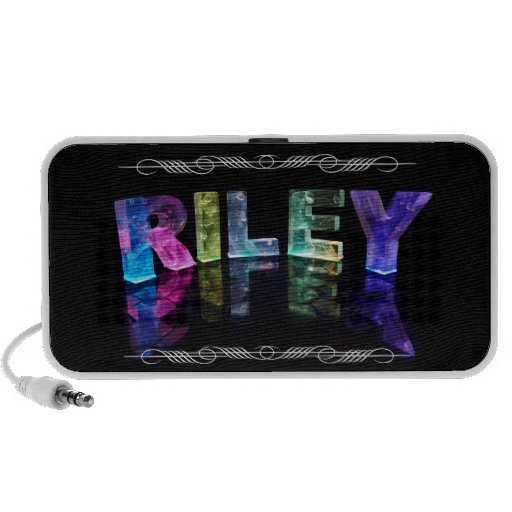 The Name Riley in 3D Lights (Photograph) Portable Speaker