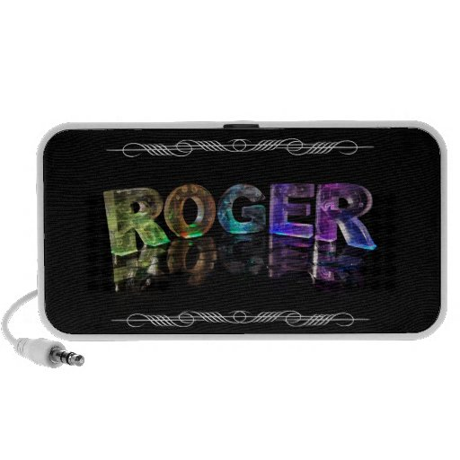 The Name Roger in 3D Lights (Photograph) iPhone Speakers