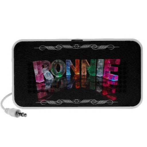The Name Ronnie in 3D Lights (Photograph) Laptop Speakers