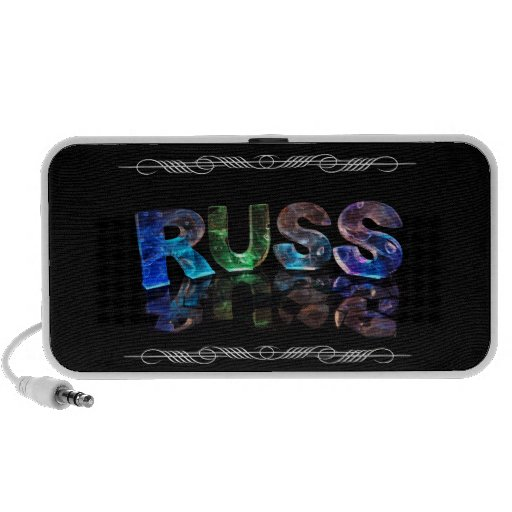 The Name Russ in 3D Lights (Photograph) iPod Speakers