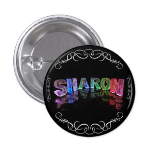 The Name Sharon -  Name in Lights (Photograph) 3 Cm Round Badge