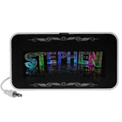 The Name Stephen -  Name in Lights (Photograph) Laptop Speakers
