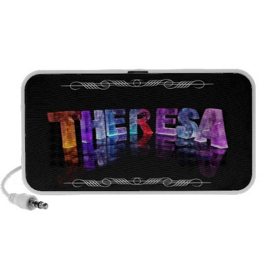 The Name Theresa -  Name in Lights (Photograph) Portable Speaker