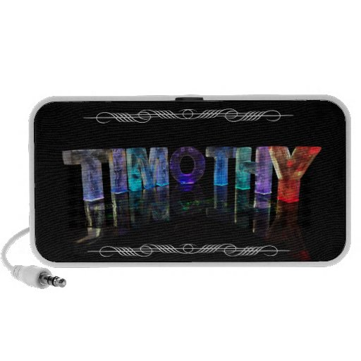 The Name Timothy -  Name in Lights (Photograph) Laptop Speakers