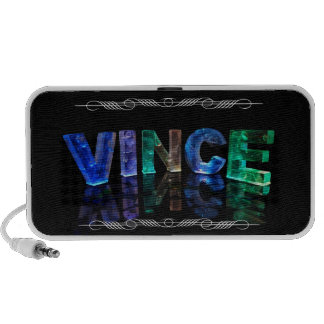 The Name Vince -  Name in Lights (Photograph) Portable Speaker