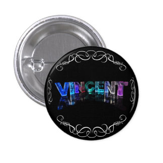 The Name Vincent -  Name in Lights (Photograph) 3 Cm Round Badge