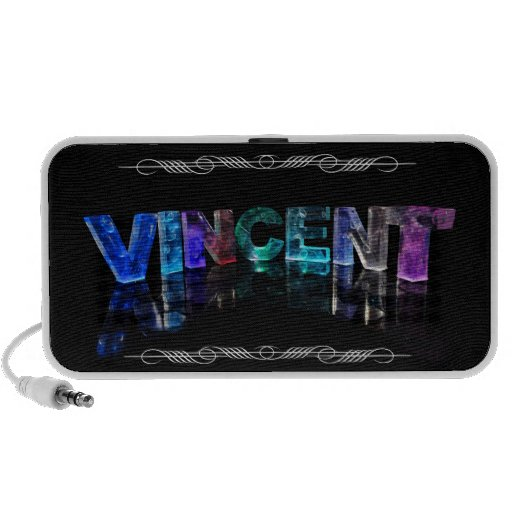 The Name Vincent -  Name in Lights (Photograph) Portable Speaker
