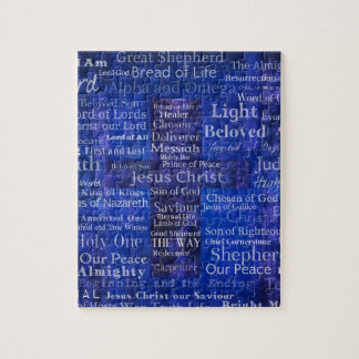 The Names of Jesus Christ blue cross art Puzzle