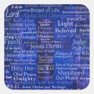 The Names of Jesus Christ blue cross art Square Sticker