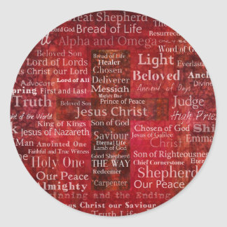 The Names of Jesus Christ From the Bible Classic Round Sticker