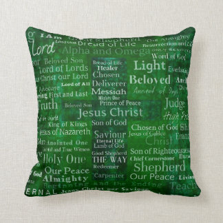 The Names of Jesus Christ From the Bible CROSS Cushion